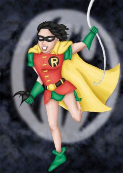 Robin Swinging in the Air by comicalclare