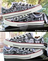 Custom Tim Burton Converse by DecemberBellz