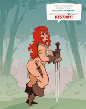 Red Sonja - Three Handed Sword - Rough Sketch by HugoTendaz