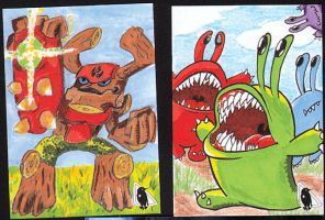 Finished sketch cards- Tree Rex N Chompies by PlummyPress