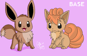 Eevee And Vulpix by PhicoKitty