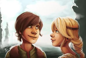 hiccup and astrid by starsandpolkadots