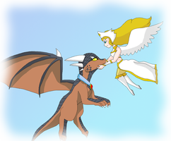 Liz and Drake in the sky by HeroHeart001