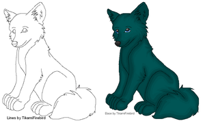 MS Paint ready Wolf Lineart by TikamiHasMoved