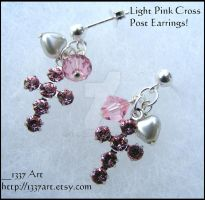 Light Rose Cross Post Earrings by 1337-Art