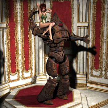Steel golem and his princess by Hurvi