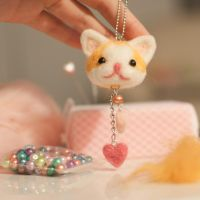 Needle Felted Kitty Keychain by BerryCraftyFox