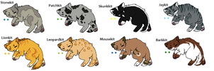 Warrior cat Adopts 6 *KITS* Open 1 left by Evertooth
