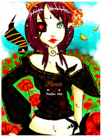 Card___Pirate and Flowers___ by Papillon-Nwuar