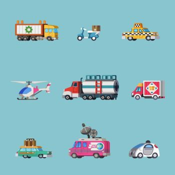 Flat style cars set from Tap Ink game by Pykodelbi