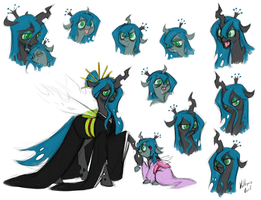 Commission - Queen Chrysalis and Princess Pupa by Valkyrie-Girl