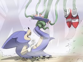 Sonic and Licking Tentacles by PawFeather