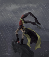 Robin in the Rain. by natea21