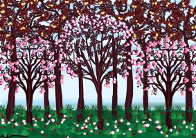 Cherry Trees by mirzaaf