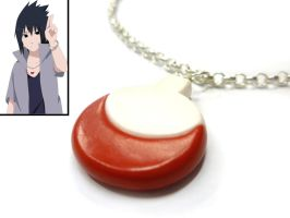 Sasuke Uchiha road to ninja necklace -polymer clay by TenereDelizie