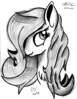 Fluttershy Portrait Sketch by AncientOwl