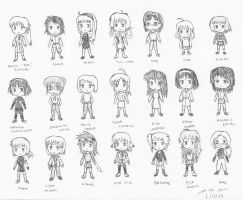 Chibi Doodles - Female Charas by BoggeyDan
