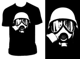 Gas Mask Black T by PandaPirate69