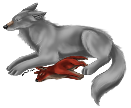 Wolf and Pup by Noxtu