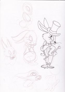 Easter Bunny Character Concepts #1 (line art) by Voodoochild99