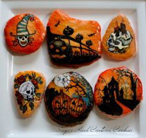 Halloween Macaron Cookies by SugarRushCustomCooki