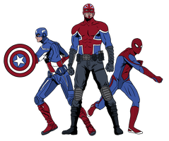Captains and Spider-Man T-Shirt Design by DubiousAJ