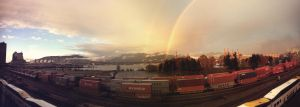 Foggy Vancouver Double Rainbow by 154600Lire