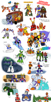 Robot master christmas sketches by zavraan