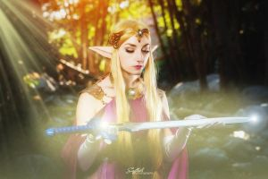 Zelda with the Master Sword by Lillyxandra