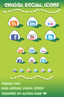 Onigiri Social Icons Set by Jexyla
