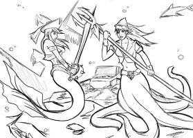 Mermaid vs octopus sketch by MauroIllustrator