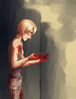 The blood on the hands  of a hero by fliff