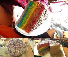 Our REAL rainbow cake by FrozenNote