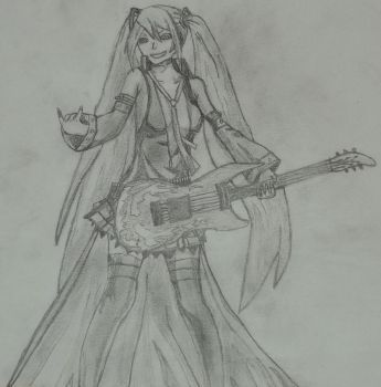 Hagane Miku (no color version) by roquana