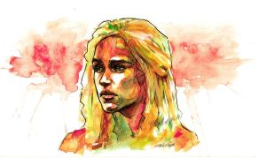 Game of Thrones Khaleesi Watercolor by theonlybriman47