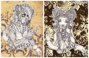 faux badges: ghost + antique by sugarpillRx