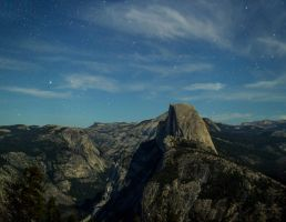 Moon Lit Half Dome in Yosemite by thevictor2225