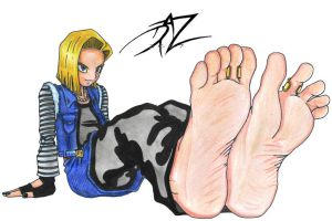 Android 18 foot teasing by DazMatter