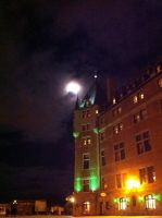 A castle kissing the moon by Paraformaldehyde