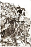 .:theRooster, Hen, and Hydrangeas (sketch) by ardyliciouce