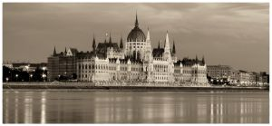 Hungarian Parliament BW by gabor0928