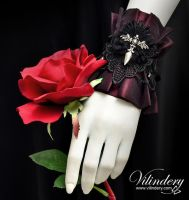 Dark Red Gothic Cuff by vilindery
