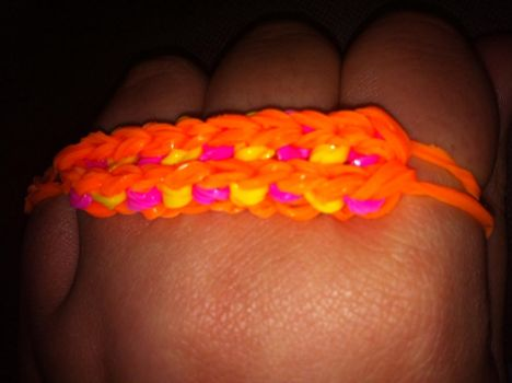 Orange, yellow and pink loom bracelet by mket98
