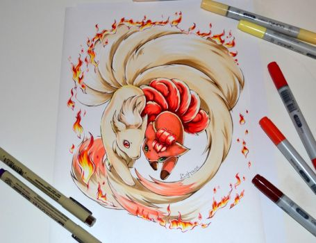 Vulpix and Ninetales Tattoo by Lighane