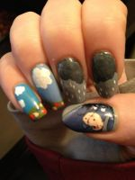 Winnie the Pooh nails (Eeyore - right hand) by MistyPixelFan