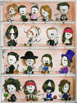 Johnny Depp dolls showcase by M-E-Lee