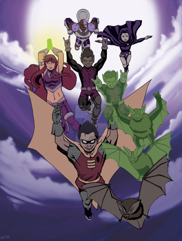 Teen Titans WIP by sketchandthecity