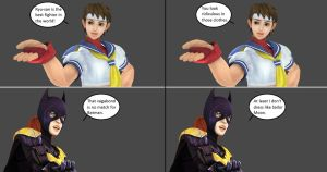 Injustice: Sakura Kasugano vs Batgirl by xXTrettaXx