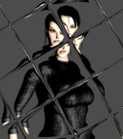 Lara behind a tile by anorexianevrosa