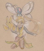 before and after yellow with butterfree and pikach by sackofsquan